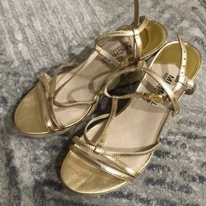 Micheal Kors Gold strap wedges